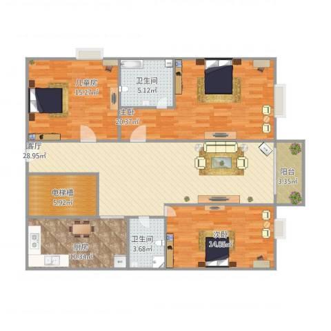 丽景园3室1厅2卫1厨144.00㎡户型图