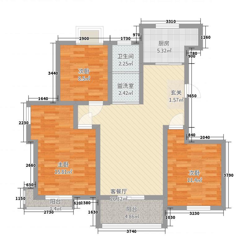天惠景庭22114.20㎡22#楼整栋B户型3室2厅1卫1厨