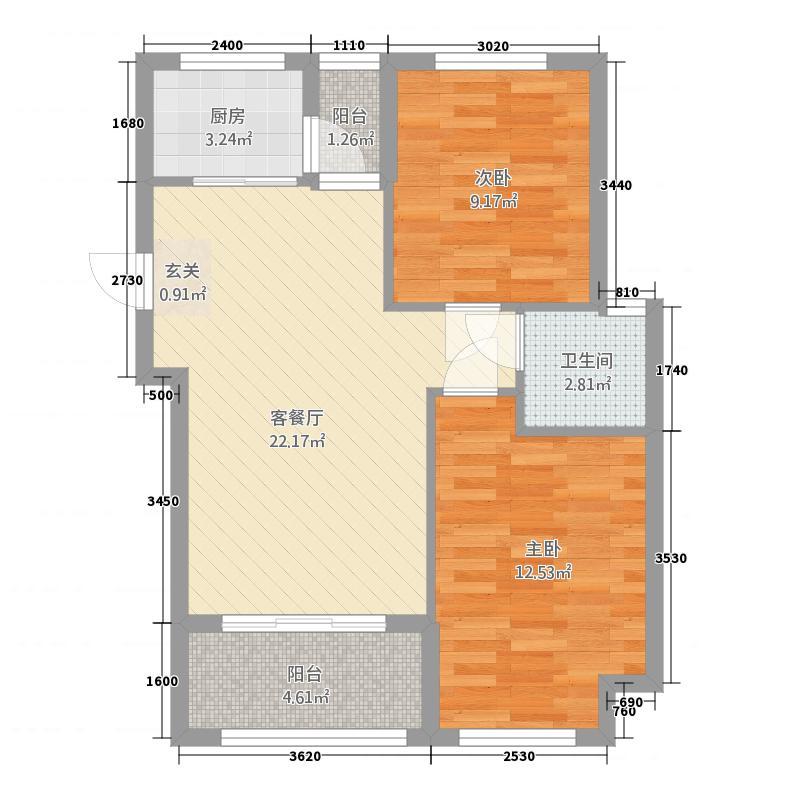 锦绣嘉园2117.62㎡21#01单元2室户型2室1厅1卫1厨
