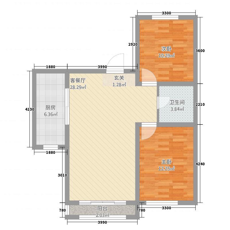 赛洛城13.20㎡(10)户型2室2厅1卫1厨
