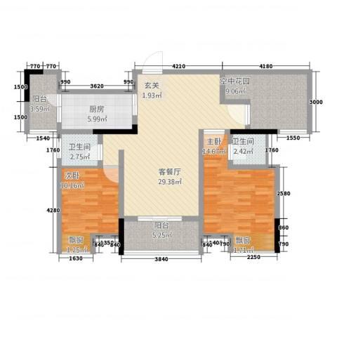华升・睿尚城2室1厅2卫1厨83.28㎡户型图