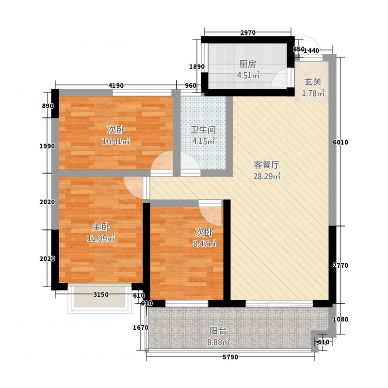 仁盛世纪星城21.75㎡二期G2户型3室2厅1卫