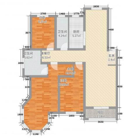 万方水岸3室1厅2卫1厨136.00㎡户型图
