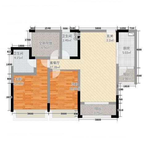 海亮国际广场2室1厅2卫1厨1212.00㎡户型图
