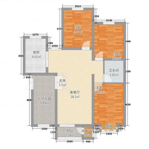 首开・国风海岸3室1厅1卫1厨82.62㎡户型图
