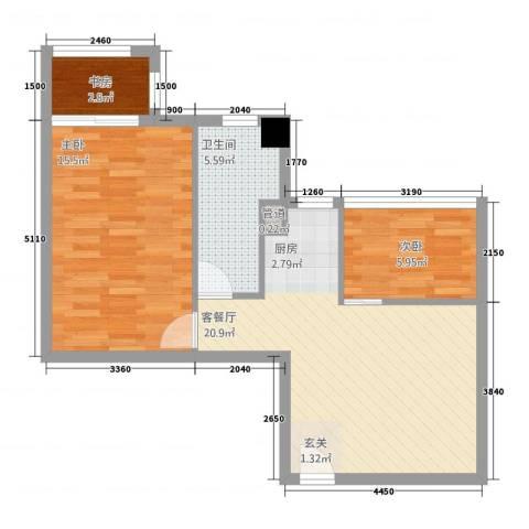 朝阳广场3室1厅1卫0厨72.00㎡户型图