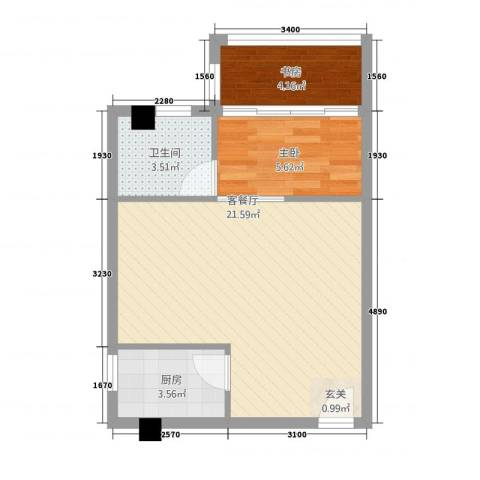 朝阳广场2室1厅1卫1厨55.00㎡户型图
