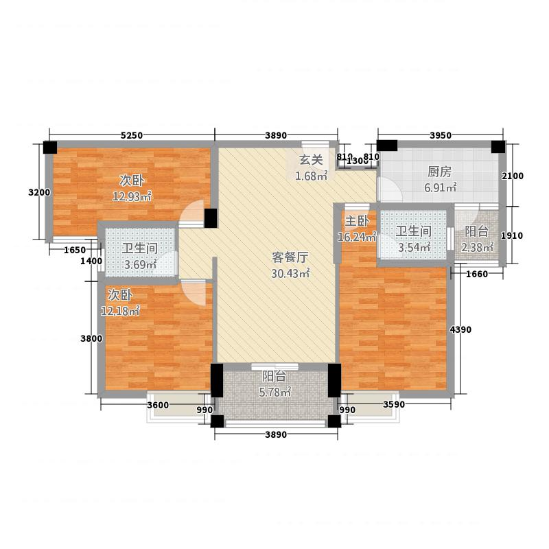 卓尔生活城432128.44㎡B户型3室2厅2卫1厨