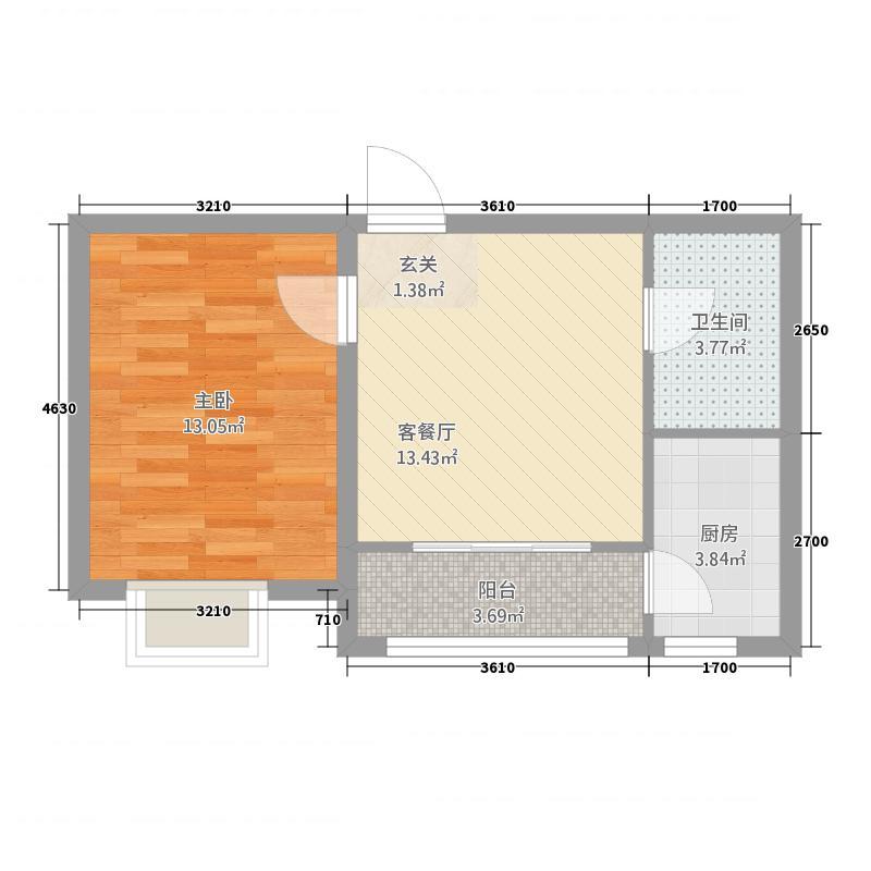 宝宇天邑澜山6.78㎡二期户型1室1厅1卫1厨