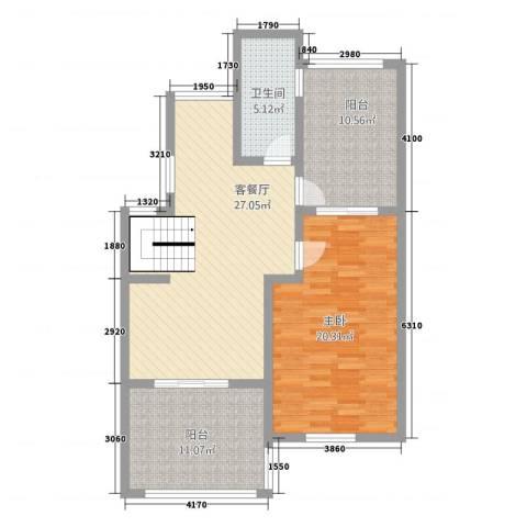 半岛玲珑家园1室1厅1卫0厨106.00㎡户型图