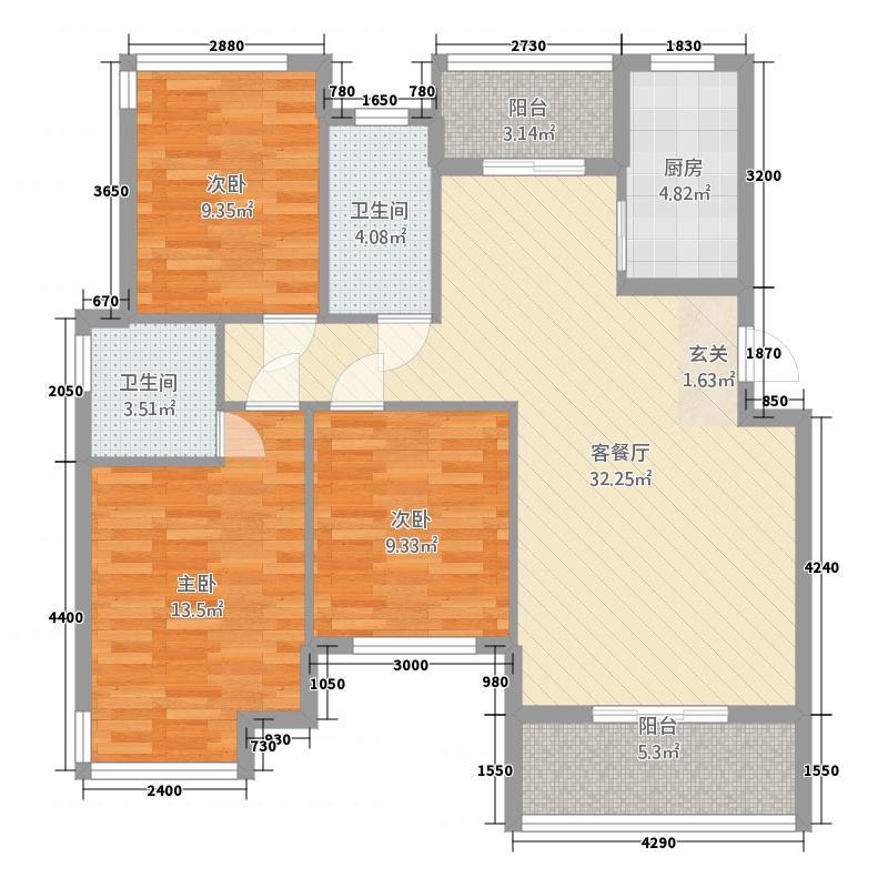 锦绣嘉园21112.52㎡21#10单元3室户型3室2厅2卫1厨