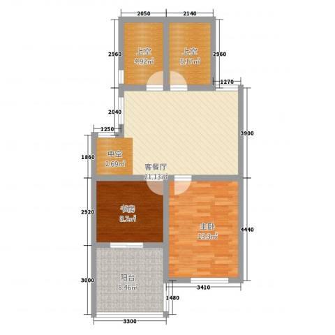半岛玲珑家园2室1厅0卫0厨88.00㎡户型图