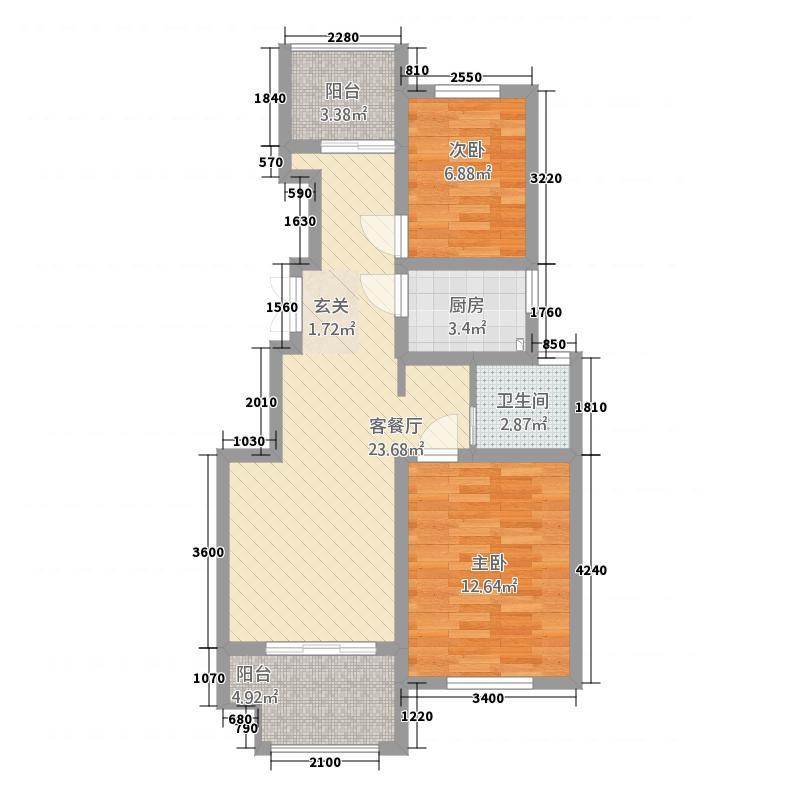 建联学府景园85.20㎡A户型2室2厅1卫1厨