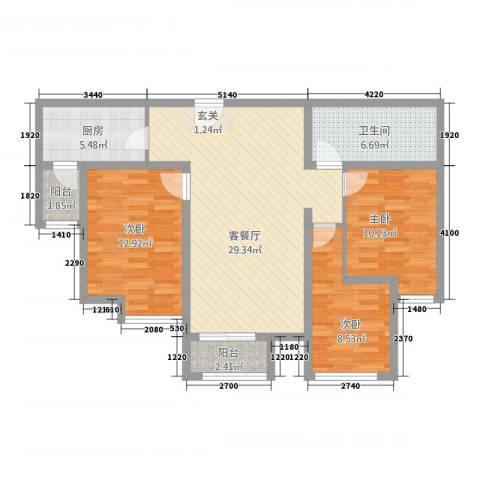 天成一品3室1厅1卫1厨112.00㎡户型图
