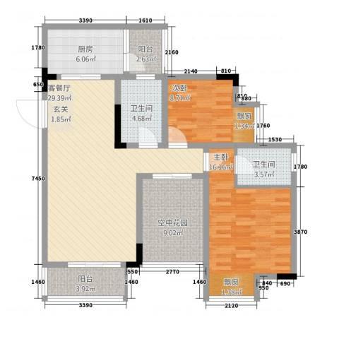 华升・睿尚城2室1厅2卫1厨2314.00㎡户型图