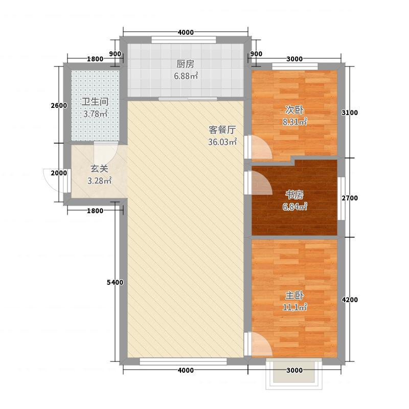 红豆庭院321414.63㎡户型3室2厅1卫1厨