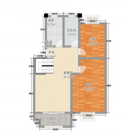 半岛玲珑家园2室1厅1卫1厨113.00㎡户型图