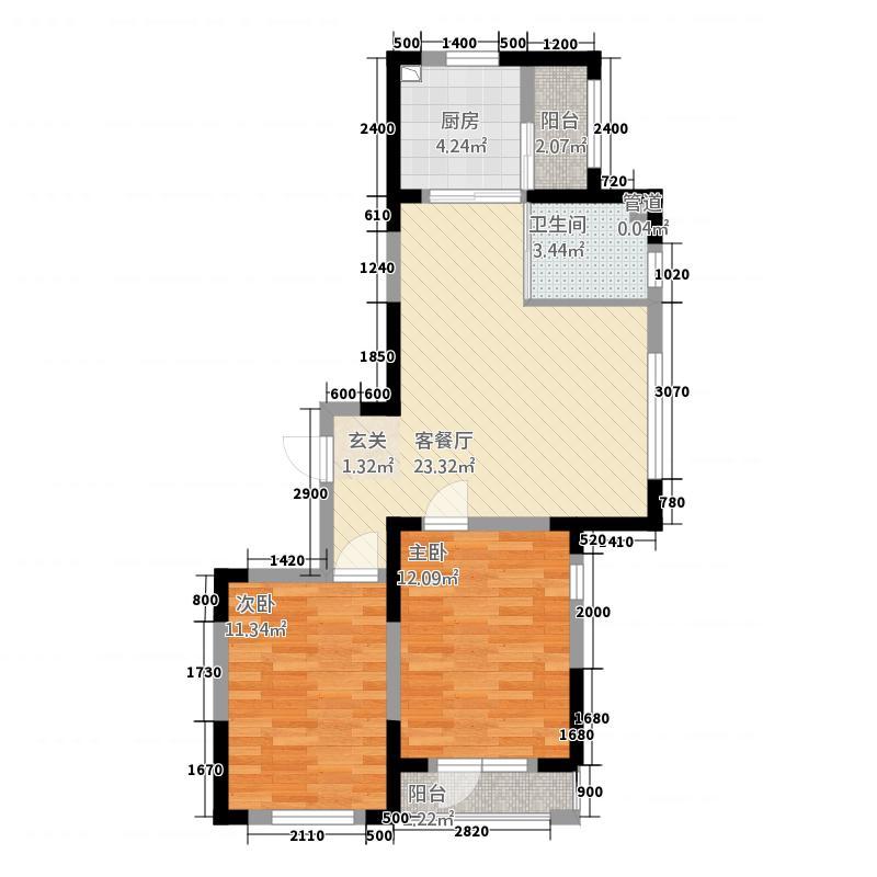金色橄榄城588.38㎡二期DM-5-b户型2室2厅1卫1厨