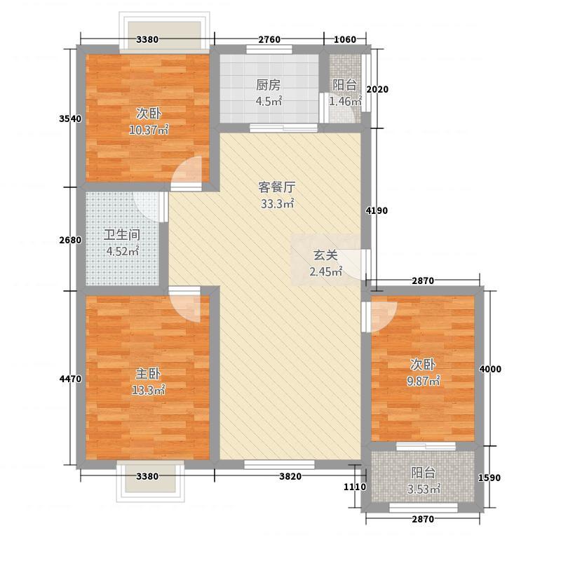顺达珠江帝景116.20㎡户型3室2厅1卫1厨