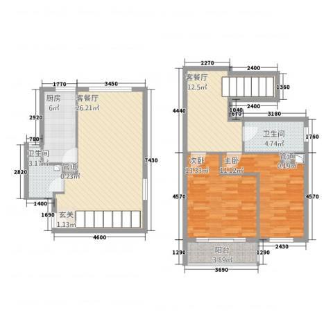 世茂蝶湖湾2室2厅2卫1厨116.00㎡户型图
