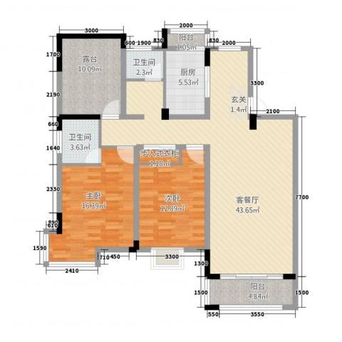 和兴世纪花都2室1厅2卫1厨112.00㎡户型图