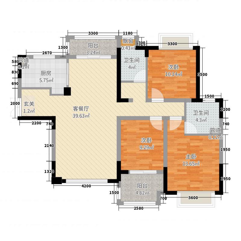 高科慧谷阳光2135.24㎡一期2栋A2户型3室2厅2卫1厨