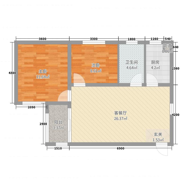玫瑰湾二期・珑岸墅景高层B03/户型2室2厅1卫1厨