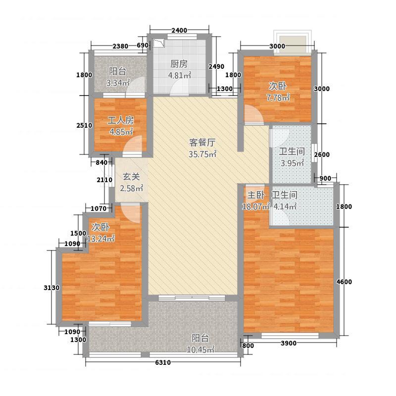 麒麟山庄公园境131.20㎡二期20#标准层E-1户型4室2厅2卫1厨