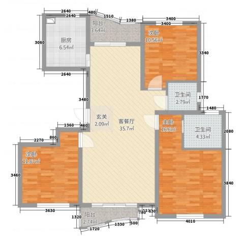 浙建・太和丽都三期3室1厅2卫1厨108.00㎡户型图