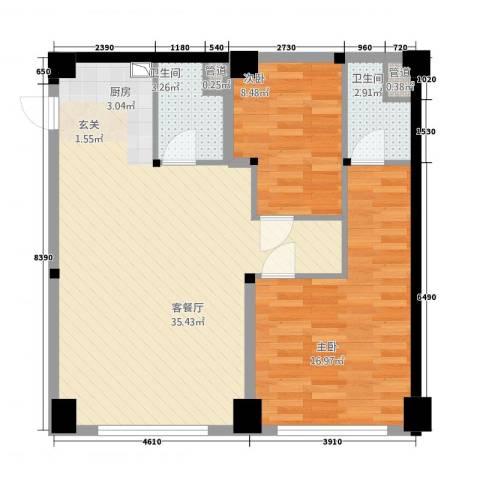 攀华国际广场2室1厅2卫0厨67.68㎡户型图
