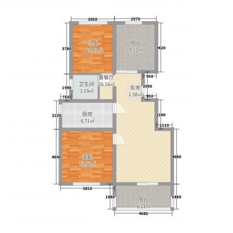天湖丽景湾2室1厅1卫1厨2141.00㎡户型图