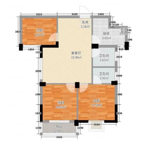 滨江星城3室1厅2卫1厨1336.00㎡户型图