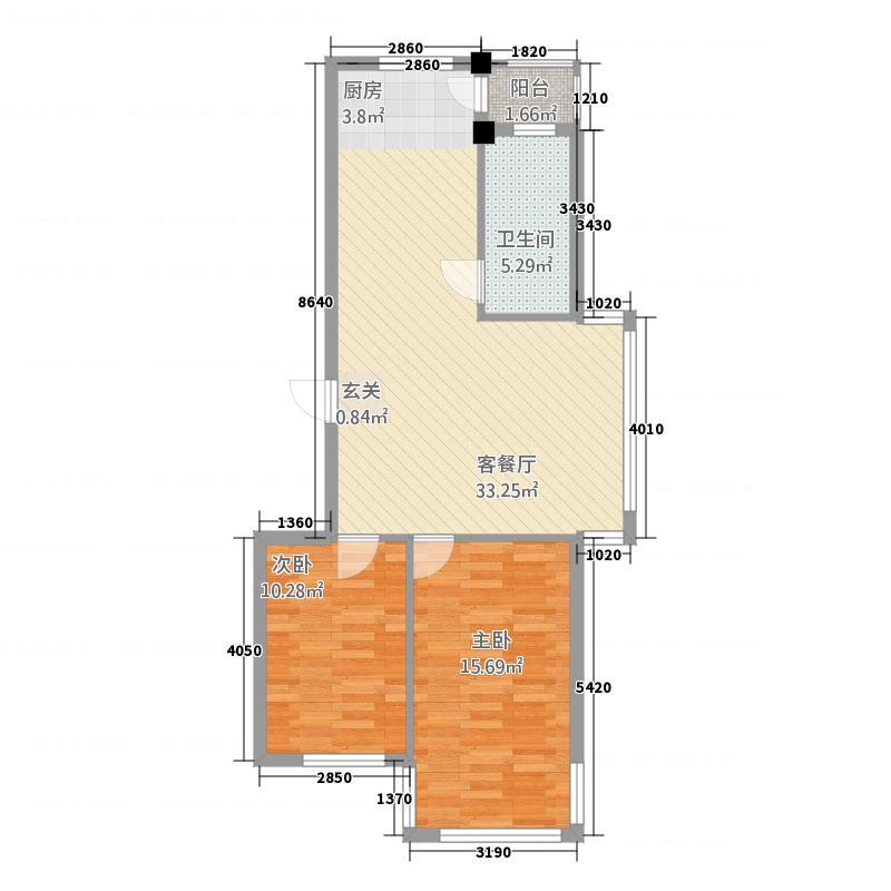 映豪小区282.20㎡户型2室2厅1卫