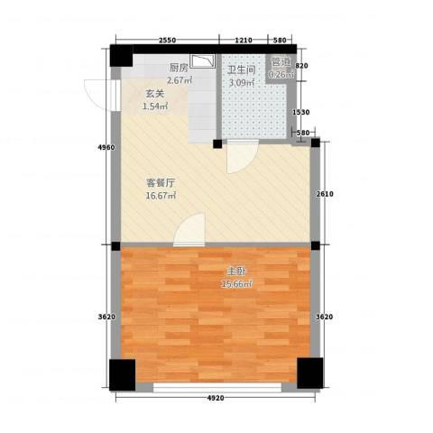 攀华国际广场1室1厅1卫0厨51.00㎡户型图
