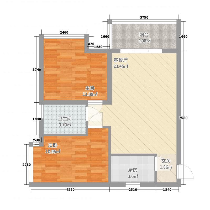 银河世纪581.86㎡尚玺5栋C户型2室2厅1卫1厨