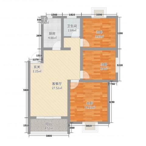 滨江星城3室1厅1卫1厨7127.00㎡户型图