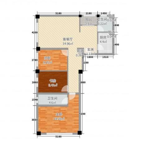 攀华国际广场3室1厅2卫1厨86.16㎡户型图