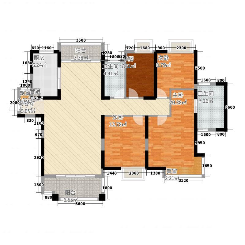 国贸天琴湾163.00㎡一期高层13号楼标准层D1户型4室2厅2卫1厨