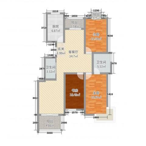 河滨花园3室1厅2卫1厨136.00㎡户型图