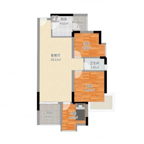 鸿泰八零3室1厅1卫1厨99.00㎡户型图