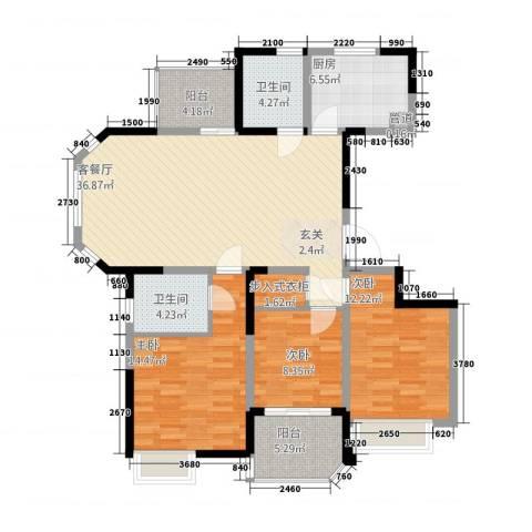 高成上海假日3室1厅2卫1厨136.00㎡户型图