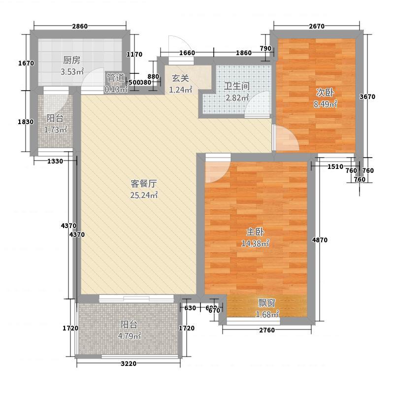 高迪墨香郡1588.20㎡1号楼至5号楼D户型2室2厅1卫1厨