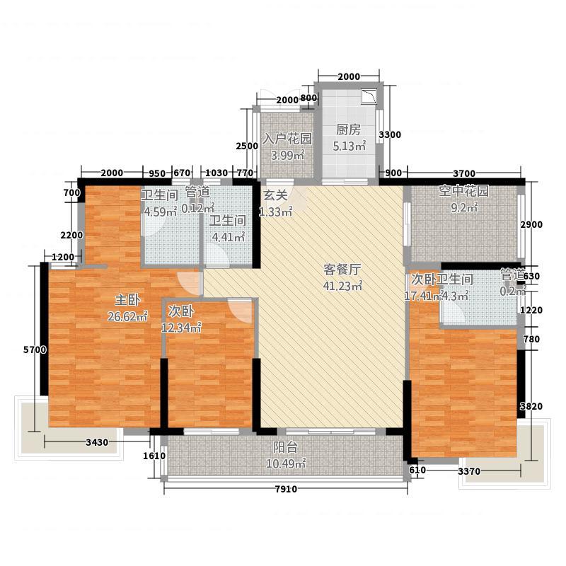 乐从钜隆风度广场1168.44㎡1座03户型4室2厅3卫1厨