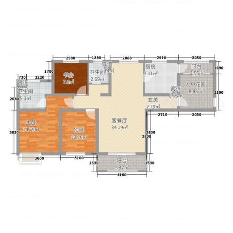 世茂蝶湖湾3室1厅2卫1厨142.00㎡户型图