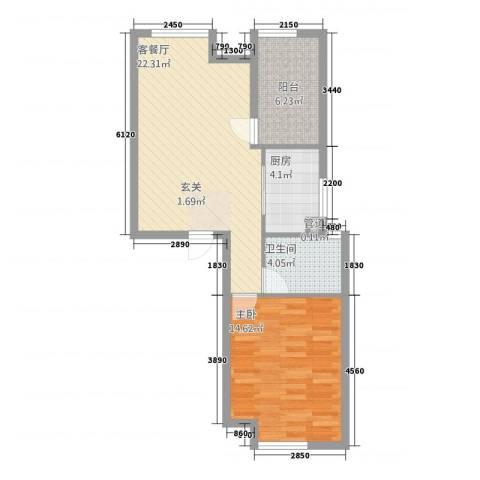 天湖丽景湾1室1厅1卫1厨2141.00㎡户型图