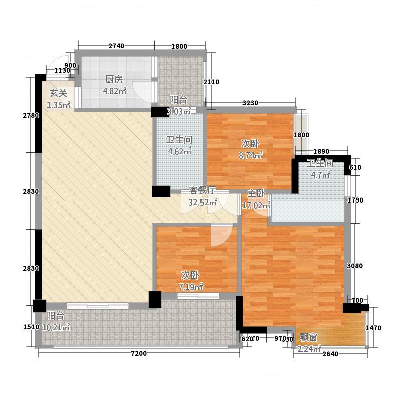 腾龙新华广场432113.13㎡户型3室2厅2卫1厨