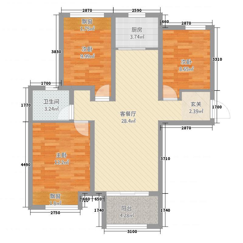 高迪墨香郡1513.20㎡1号楼至5号楼C户型3室2厅1卫1厨