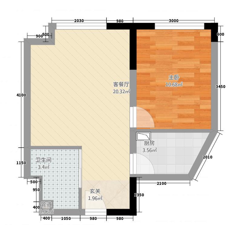 益田枫露62.52㎡公寓Ⅱ户型1室1厅1卫1厨