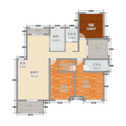 天湖丽景湾3室1厅2卫1厨2154.00㎡户型图