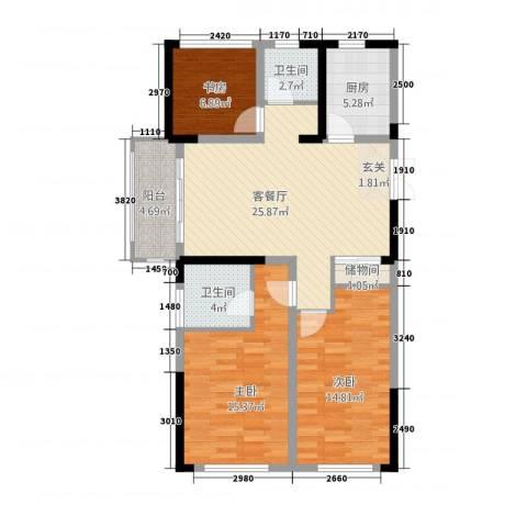 中南世纪城3室1厅2卫1厨116.00㎡户型图